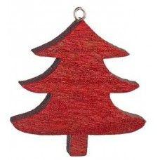 Χριστουγεννιάτικο Κρεμαστό Ξύλινο Δεντράκι, Κόκκινο (8cm)