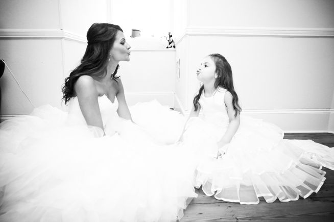 Cute photo of bride and flower girl. Great gift to give her on her wedding day