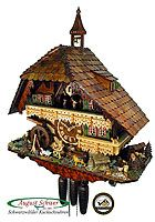 August Schwer Cuckoo Clock  This is the official Clock of the Year 2008, certified by the Association of Black Forest Clock (VdS).  Cuckoo Clock with 8-day movement / running time (mechanical), with music and dancers, turing mill wheel, and swinging fire bell.  Each year, the visitors of the Black Forest Museum (Vogtsbauernhöfe in Gutach) choose the most beautiful clock of the year. The Clock of the Year award is organized by the Association of the Black Forest clock on an annual…