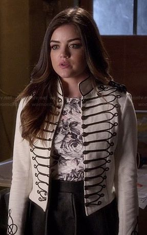 Aria's white military style jacket, rose print top and pleated leather skirt on Pretty Little Liars.  Outfit Details: http://wornontv.net/43047/ #PLL
