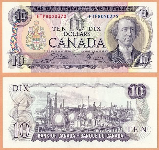 Old Canadian 10 dollar bill featuring Chemical Valley, Sarnia, ON