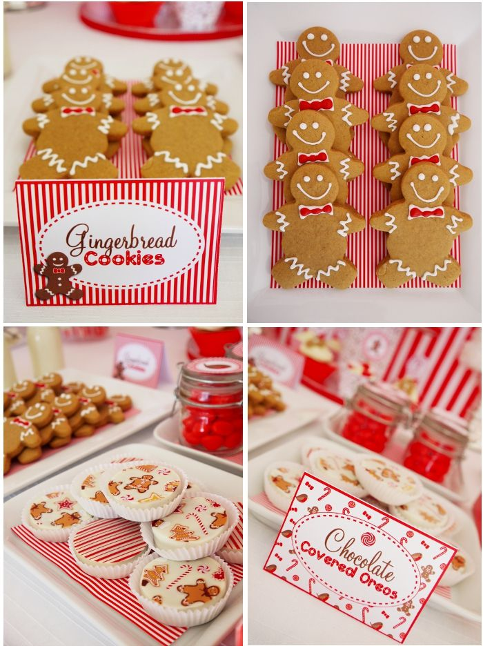 Christmas Candyland Red and white holiday party gingerbread cookies