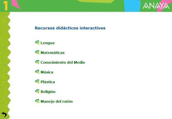 Recursos Didácticos Interactivos Anaya 1º Nivel de Educación Primaria para todas las áreas del nivel. Presenta actividades complementarias en relación con los aprendizajes básicos de cada una de dichas áreas.