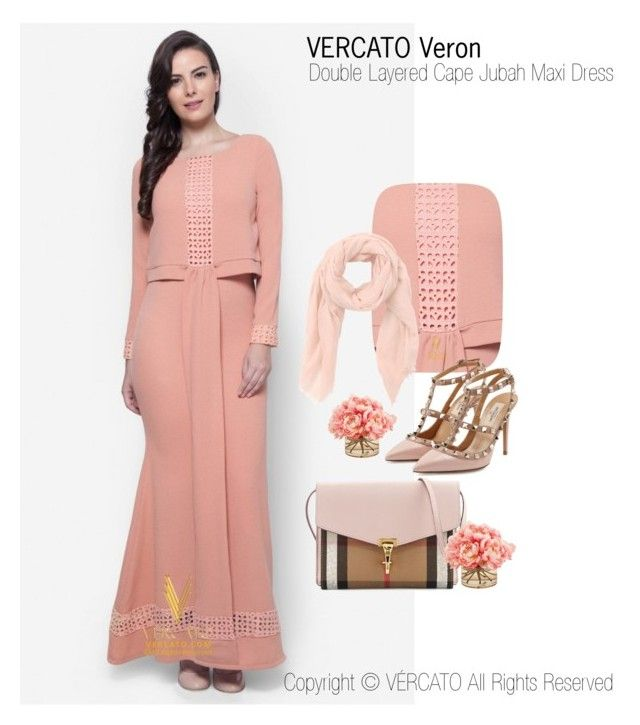 """Baju Kurung Lace Terkini 2016"" by vercato on Polyvore featuring Double Layered Cape Jubah Maxi Dress - Vercato Veron in Salmon Pink. SHOP NOW: www.vercato.com"