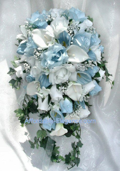Light Blue White Calla Lily Roses Bridal Cascade Bouquet Silk Wedding Flowers