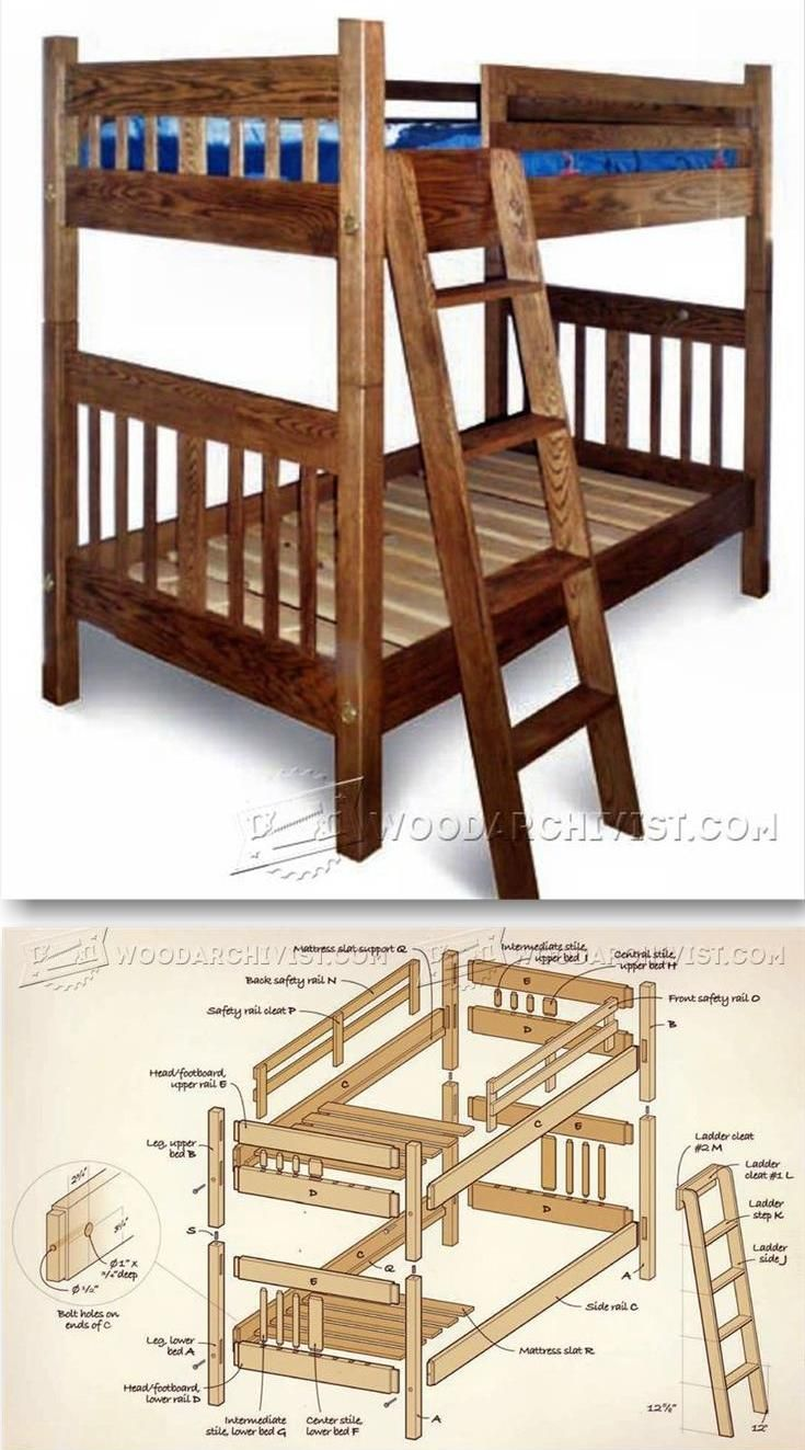 Mission style furniture plans - Mission Style Bunk Bed Plans Children S Furniture Plans And Projects Woodarchivist Com