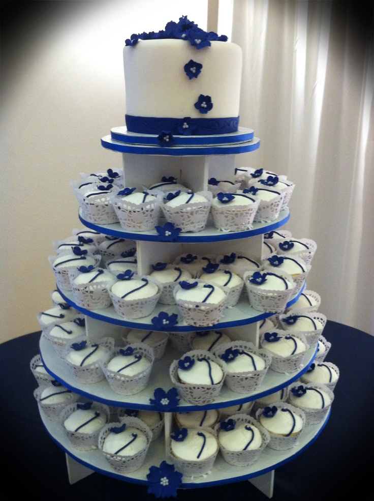 Blue and white wedding cupcakes #navy & white retro wedding board... Wedding ideas for brides, grooms, parents & planners ... https://itunes.apple.com/us/app/the-gold-wedding-planner/id498112599?ls=1=8 … plus how to organise an entire wedding, without overspending ♥ The Gold Wedding Planner iPhone App ♥