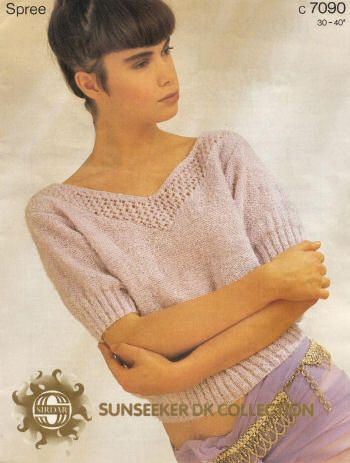 Top with Front and Back V-Neck Vintage Knitting Pattern for download - Six Bust Sizes 30 - 40 inches (76 - 102cm)
