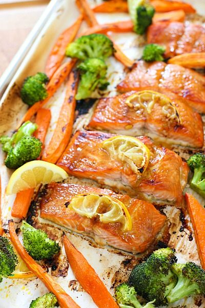 Honey Glazed Salmon Sheet Pan Dinner from Laughing Spatula