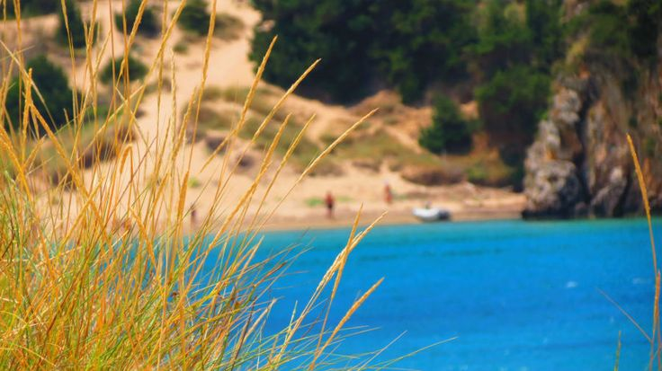 Greece Peloponnese Voidokilia beach crystal clear waters