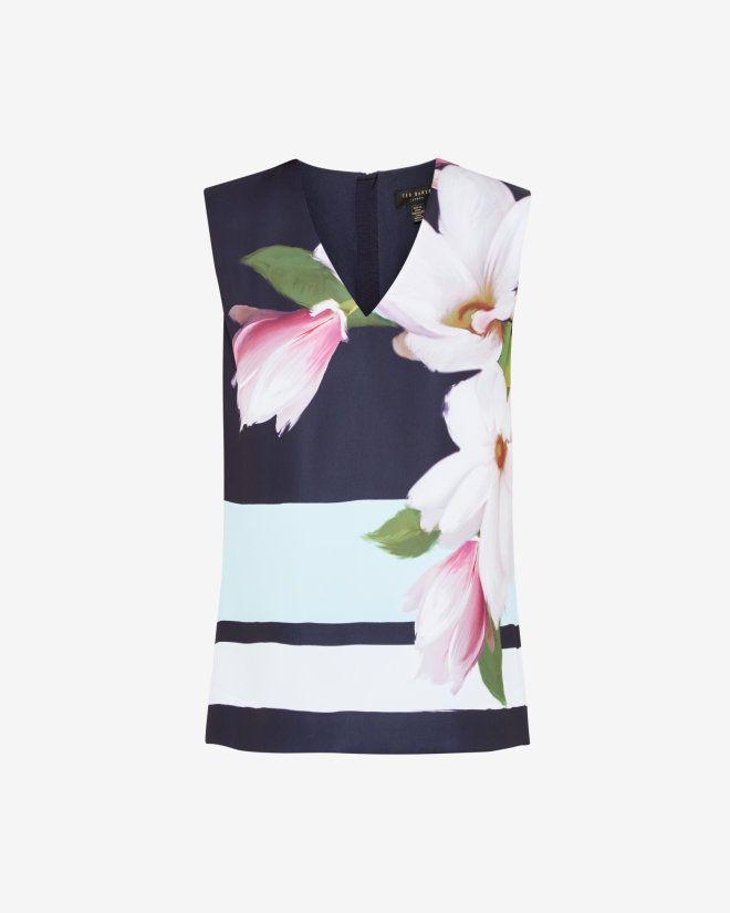 Magnolia Stripe V-neck top - Navy | Tops & T-shirts | Ted Baker UK