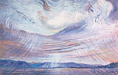 """Sky"" by Emily Carr, 1935-1936. Oil on wove paper. National Gallery of Canada, purchased 1937."