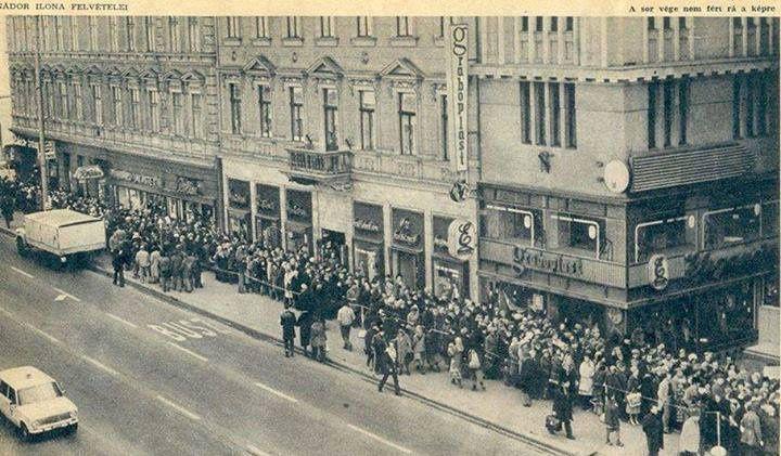 Bánfi-hajszeszért sorban álló emberek, 1979, Budapest