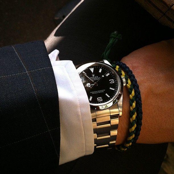 Rolex Explorer I and braided bracelets