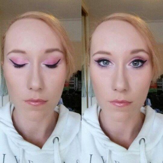 Pink cat eye makeup