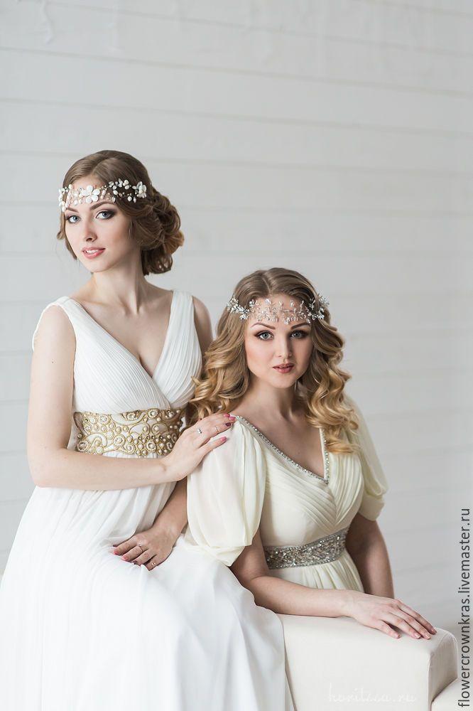 """Купить Свадебный венок из жемчуга """"Весенние цветы"""" - белый, вналичии, красноярск, свадебные аксессуары Воздушный венок"""