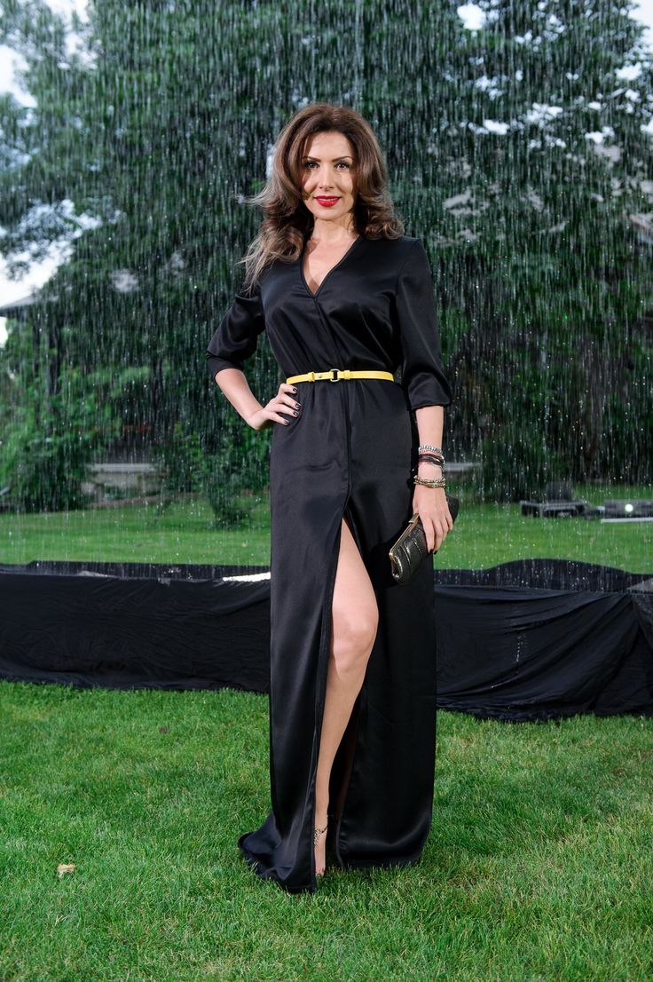 Carmen Bruma wearing http://shop.laurahincu.ro/product/summer/black-duchesse-silk-maxi-robe-dress/