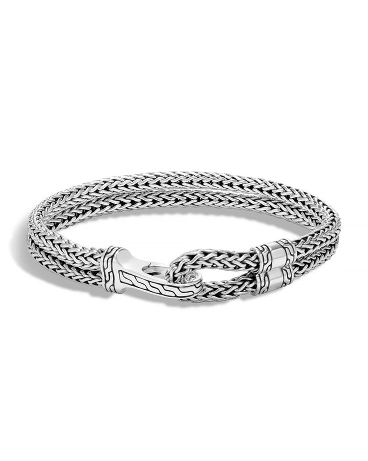 "From the John Hardy Classic Chain collection. Double sterling silver bracelet. Signature hook station with chain detail. Approx. 8.3""L; 0.4""W; 7.5"" inner circumference. Handcrafted in Bali."