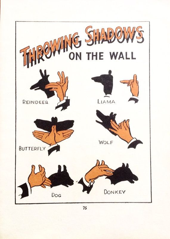 Hand Shadow print. Vintage Original book page from by accoladefive