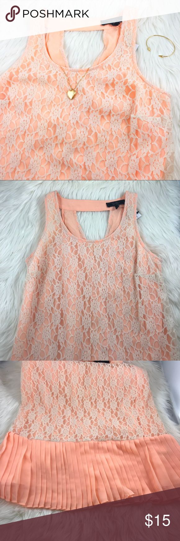 """🆕 10/24 - BNWT Jessica Simpson Peach Lace Dress First photo shows color enhanced since lighting tends to wash it out. It's a bright peach color. Like a neon or highlighter color. Brand new with tag. Gladys Preach Nectar. They call the Lace Smokey grey but it's more of an off white. Ruffle bottom hem. 34"""" bust, 25.5"""" from underarm to hem. No zipper. This listing is for the dress only. Jessica Simpson Dresses Midi"""