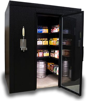 Brew Caves are designed for beer enthusiasts, homebrewers, bars, clubs, craft breweries or anyone who is looking for an economic way to store beer cases and kegs. The Brew Cave walk-in kegerator can store 6 or more kegs and over 30 cases of beer, all while keeping them cold and ready to enjoy.