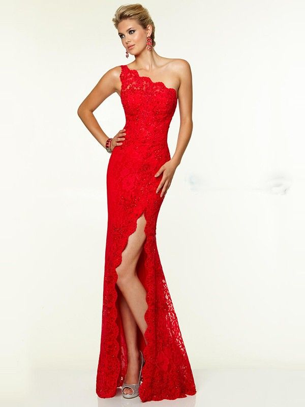 Sheath/Column Sleeveless One-Shoulder Lace Floor-Length Dresses Sure wish I could wear something like this! WOW!