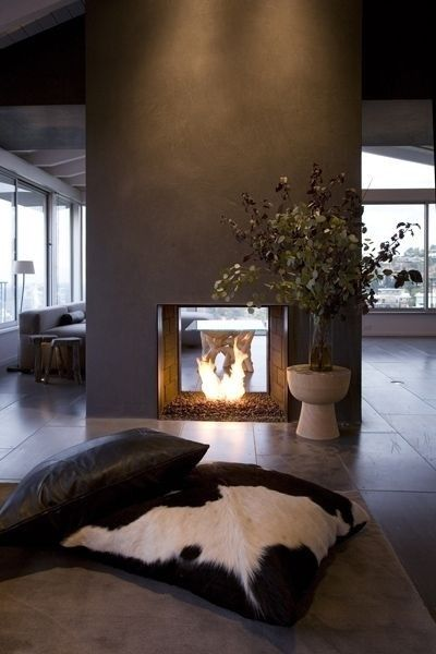 Fireplace & black wall