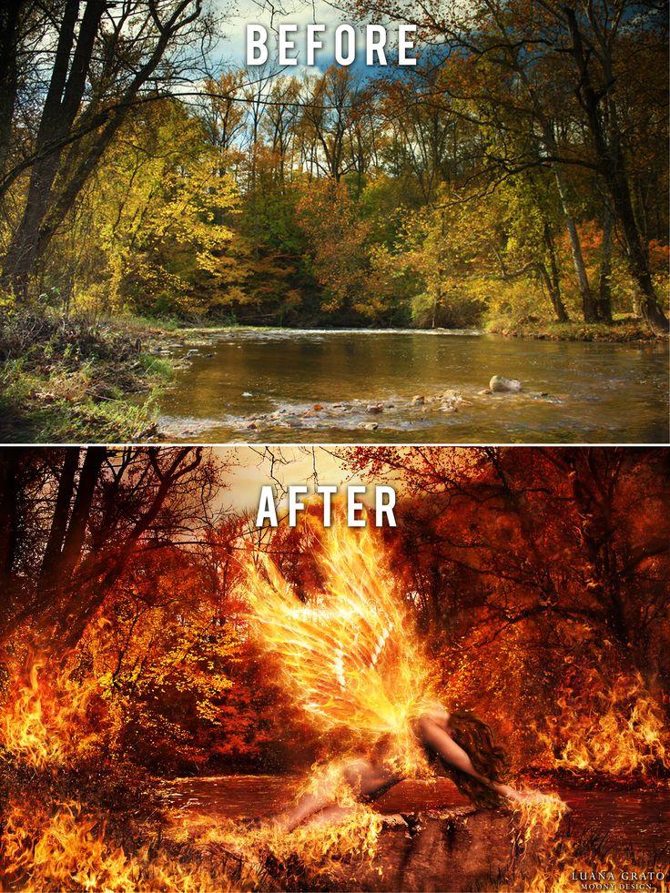 "Before&after ""Post fata resurgo""  #moonydesign #luanagrato #digitalart #phtomanipulation #photoshop #fire #phoenix #firewings #forest #redplanet #moon #beforeafter"