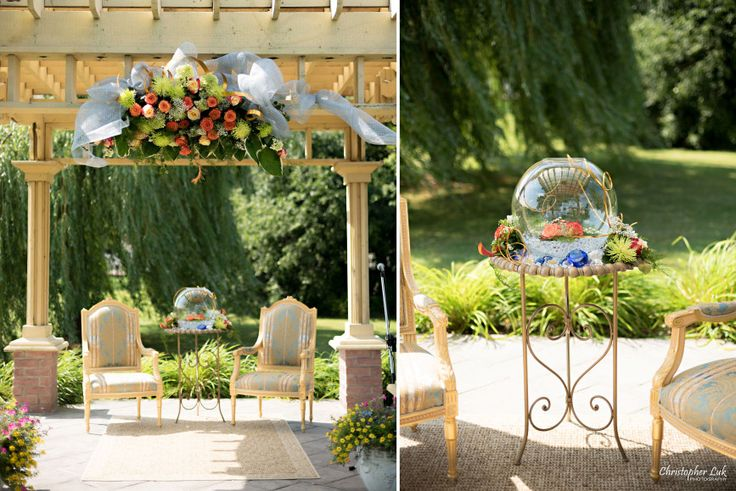 Christopher Luk (Toronto Wedding, Lifestyle, and Event Photographer): Vannessa and Daniel's Brampton Summer Outdoor Backyard Tea Ceremony Family Wedding Engagement Party Celebration - Gazebo Patio Covering Ornate Chairs Centrepiece Glass Bowl Flowers Crystals Details Floral Arrangement