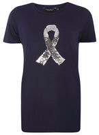 Womens Breast Cancer Care Navy Sequin Ribbon Motif Tee- Blue
