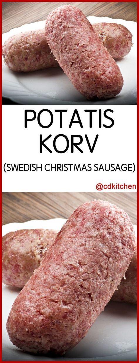 Potatis Korv Swedish Christmas Sausage - Recipe is made with onion, ground pork, ground beef, potatoes, salt, ground allspice, black pepper | CDKitchen.com