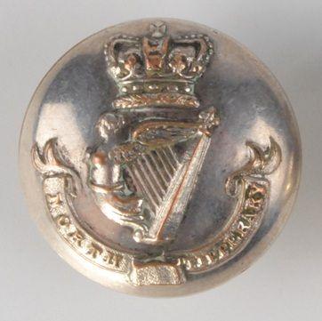 North Tipperary Militia officer's uniform button by Hugh Foley of Dublin