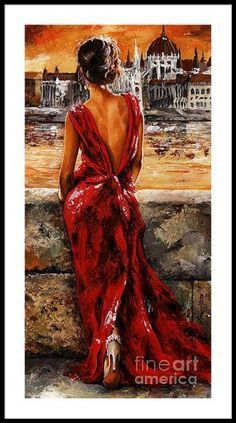 Lady In Red 34 – I Love Budapest Framed Print