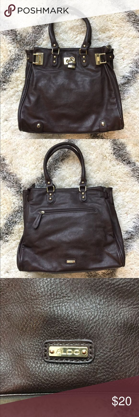 Aldo dark brown faux leather tote bag Large tote with gold accents Aldo Bags Totes