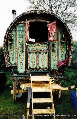 A typical Romani bow top wagon, so called because of its light-weight canvas     top. This type of wagon was originally used in hilly regions, being light     and easy to manoeuvre