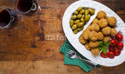 Healthy Italian Appetizer Platter with Risotto balls Arancini ,