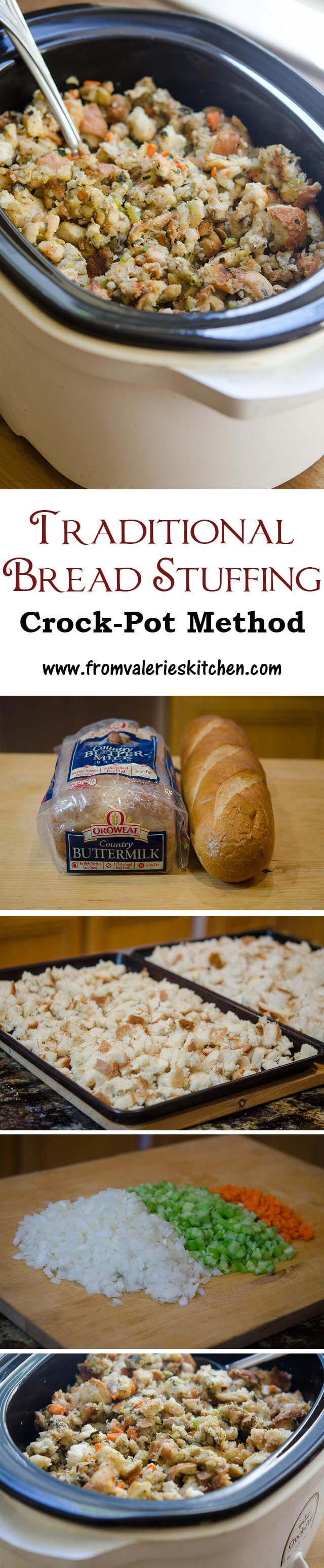 Cook your stuffing in your slow cooker and free up oven space on the big day! ~ http://www.fromvalerieskitchen.com