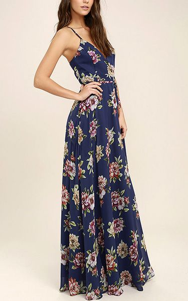 Order theAlways There For Me Navy Blue Floral Print Wrap Maxi Dress Here.