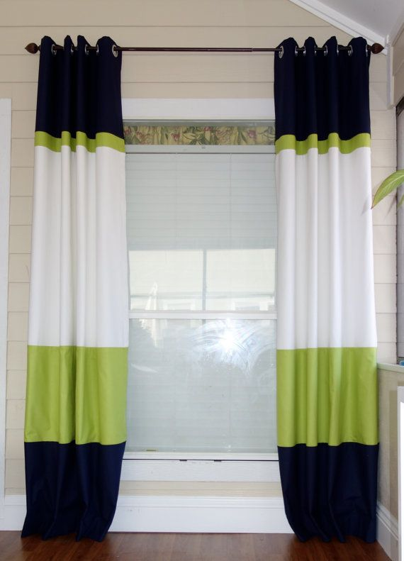 **PLEASE CHECK MY SHOP HOME PAGE FOR CURRENT TURN AROUND TIME** Thank you :-) https://www.etsy.com/shop/SewDivinebyAmanda?ref=si_shop Custom made color block curtains. Black, Lime green and White! They will be a great focal point! These panels are professional made with excellent craftsmanship. These panels can be made in many color options as well as many varations. Contact me and I will create a custom design for you. Set of 2 - 50 x 88 unlined Set of 2 color block pillow covers, 18...