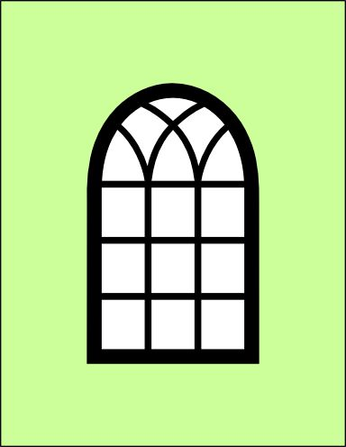 Arched window card and window frame