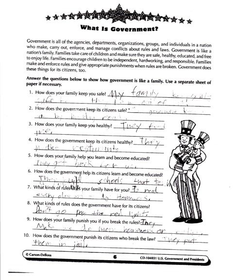 "'What is Government?' Elementary Students Taught It's Your 'Family' - Fourth-grade students in Illinois are learning that ""government is like a nation's family"" because it sets rules and takes care of needs such as health care and education."