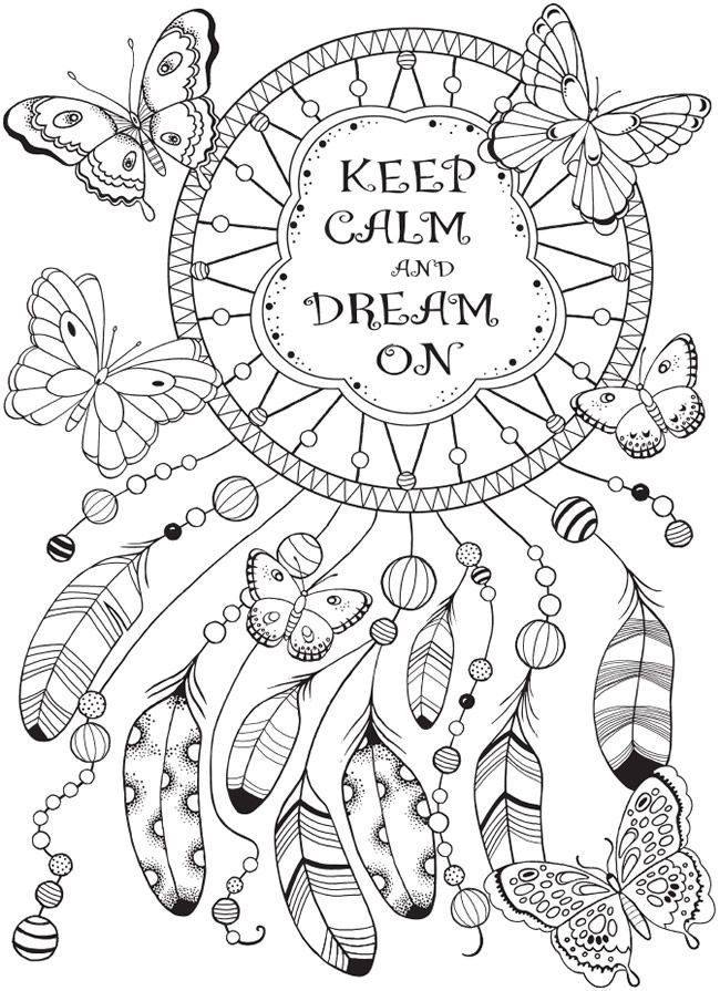 This is an image of Hilaire Printable Adult Coloring Pages Dream Catchers