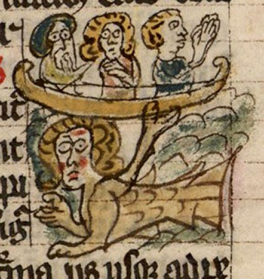 Bibliothèque Nationale de France, lat. 10448, Folio 119r A rosy-cheeked sire, with fish tail and possibly wings, enchants three horrified sailors, one apparently praying for deliverance. - Medieval Bestiary : Siren Gallery