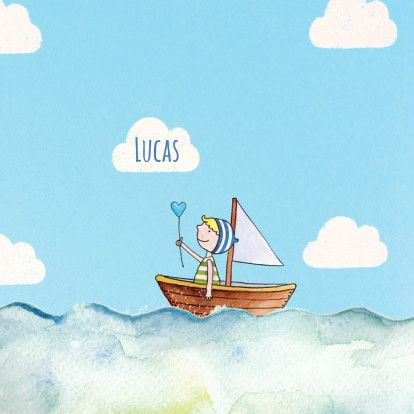 Lief getekend geboortekaartje jongen met illustratie van bootje op zee. Met tekening jongetje in boot, lucht en maan. Design: Liefkindje geboortekaartjes. Te vinden op: www.kaartje2go.nl