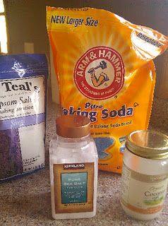 Lavender bath salts, Epsom and sea salts, coconut oil, baking soda. With paper bag instructions.