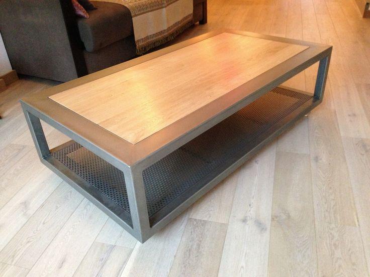 Good Table Basse Metal Bois #13: Table Basse Metal Bois CHARME Sur Roulettes 130 X 70 X H 38 Cm