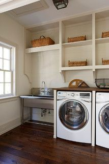 Williamsburg - traditional - laundry room - richmond - by 3north. Sailcloth Benjamin Moore. Whitehaus sink