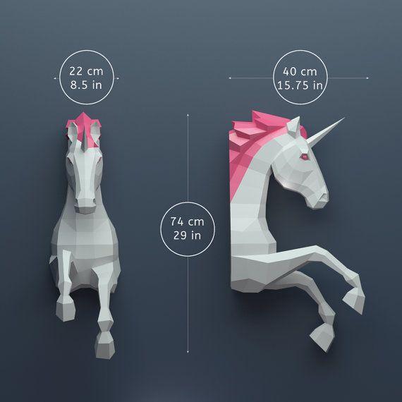 Unicornio Papercraft Papercraft 3D construir su propia por OXYGAMI