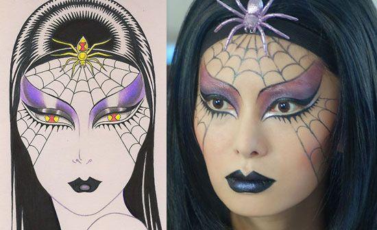 Halloween spider makeup look