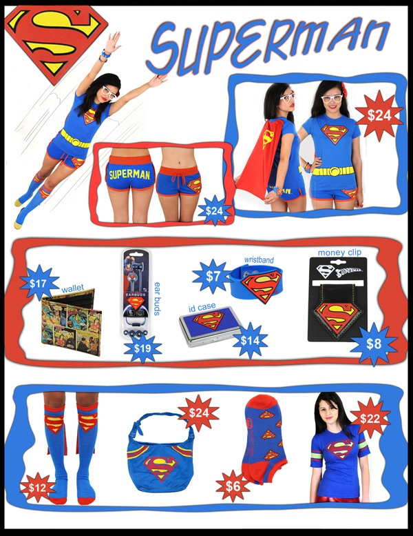 Superman bag, superman cape socks, Superman cape tee, Superman ear buds, Superman money clip, Superman wallet, Superman wristand